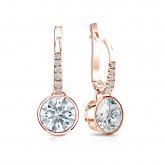 Certified 14k Rose Gold Dangle Studs Bezel Hearts & Arrows Diamond Earrings 2.00 ct. tw. (G-H, SI1-SI2)