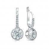 Certified 14k White Gold Dangle Studs Bezel Hearts & Arrows Diamond Earrings 2.00 ct. tw. (F-G, VS1-VS2)