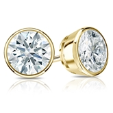 Certified 18k Yellow Gold Bezel Hearts & Arrows Diamond Stud Earrings 2.00 ct. tw. (F-G, I1-I2)