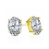 Certified 14k Yellow Gold 4-Prong Basket Oval Diamond Stud Earrings 0.75 ct. tw. (I-J, I1-I2)