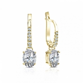 Certified 18k Yellow Gold Dangle Studs  4-Prong Basket Oval Diamond Earrings 1.00 ct. tw. (G-H, VS1-VS2)