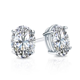Certified 14k White Gold 4-Prong Basket Oval Diamond Stud Earrings 1.00 ct. tw. (G-H, VS2)