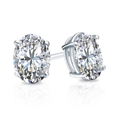 Certified 14k White Gold 4-Prong Basket Oval Diamond Stud Earrings 1.50 ct. tw. (G-H, VS2)