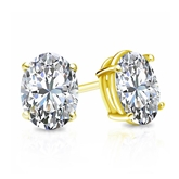Certified 18k Yellow Gold 4-Prong Basket Oval Diamond Stud Earrings 1.50 ct. tw. (H-I, SI1-SI2)
