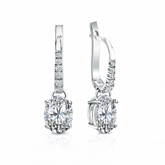 Certified 14k White Gold Dangle Studs  4-Prong Basket Oval Diamond Earrings 1.50 ct. tw. (H-I, SI1-SI2)