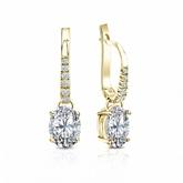 Certified 18k Yellow Gold Dangle Studs  4-Prong Basket Oval Diamond Earrings 1.50 ct. tw. (I-J, I1-I2)