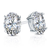 Certified 14k White Gold 4-Prong Basket Oval Diamond Stud Earrings 2.00 ct. tw. (G-H, VS1-VS2)
