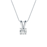18k White Gold 4-Prong Basket Certified Asscher-Cut Diamond Solitaire Pendant 0.50 ct. tw. (I-J, I1-I2)