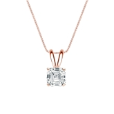 14k Rose Gold 4-Prong Basket Certified Asscher-Cut Diamond Solitaire Pendant 0.75 ct. tw. (I-J, I1-I2)