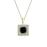 18k Yellow Gold Halo Certified Princess-cut Black Diamond Solitaire Pendant 1.00 ct. tw.