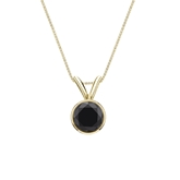 14k Yellow Gold Bezel Certified Round-cut Black Diamond Solitaire Pendant 0.75 ct. tw.