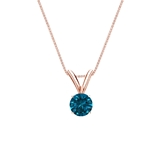 14k Rose Gold 4-Prong Basket Certified Round-cut Blue Diamond Solitaire Pendant 0.25 ct. tw. (SI1-SI2)