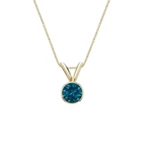 14k Yellow Gold Bezel Certified Round-cut Blue Diamond Solitaire Pendant 0.25 ct. tw. (I1-I2)