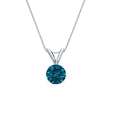 14k White Gold 4-Prong Basket Certified Round-cut Blue Diamond Solitaire Pendant 0.50 ct. tw. (SI1-SI2)