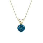 18k Yellow Gold 4-Prong Basket Certified Round-cut Blue Diamond Solitaire Pendant 0.50 ct. tw. (SI1-SI2)