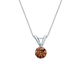 14k White Gold 4-Prong Basket Certified Round-cut Brown Diamond Solitaire Pendant 0.25 ct. tw. (SI1-SI2)