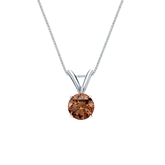18k White Gold 4-Prong Basket Certified Round-cut Brown Diamond Solitaire Pendant 0.38 ct. tw. (SI1-SI2)