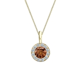 18k Yellow Gold Halo Certified Round-cut Brown Diamond Solitaire Pendant 0.50 ct. tw. (SI1-SI2)