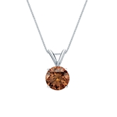 18k White Gold 4-Prong Basket Certified Round-cut Brown Diamond Solitaire Pendant 0.75 ct. tw. (SI1-SI2)