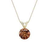 14k Yellow Gold 4-Prong Basket Certified Round-cut Brown Diamond Solitaire Pendant 1.00 ct. tw. (SI1-SI2)