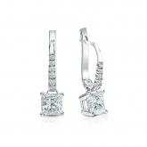 Certified Platinum Dangle Studs 4-Prong Basket Princess-Cut Diamond Earrings 1.00 ct. tw. (H-I, SI1-SI2)