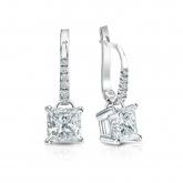 Certified 18k White Gold Dangle Studs 4-Prong Basket Princess-Cut Diamond Earrings 2.00 ct. tw. (H-I, SI1-SI2)