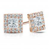 Certified 14k Rose Gold Halo Princess-Cut Diamond Stud Earrings 3.00 ct. tw. (I-J, I1)