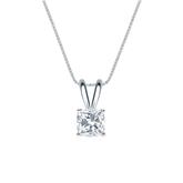 14k White Gold 4-Prong Basket Certified Cushion-Cut Diamond Solitaire Pendant 0.50 ct. tw. (I-J, I1-I2)