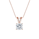 14k Rose Gold 4-Prong Basket Certified Cushion-Cut Diamond Solitaire Pendant 0.75 ct. tw. (G-H, VS2)