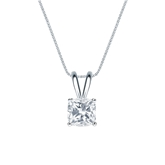 18k White Gold 4-Prong Basket Certified Cushion-Cut Diamond Solitaire Pendant 0.75 ct. tw. (I-J, I1-I2)
