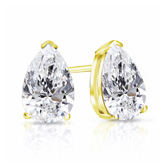 Certified 18k Yellow Gold V-End Prong Pear Shape Diamond Stud Earrings 1.50 ct. tw. (I-J, I1-I2)