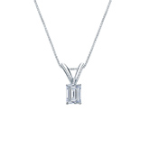 14k White Gold 4-Prong Basket Certified Emerald-Cut Diamond Solitaire Pendant 0.25 ct. tw. (I-J, I1)