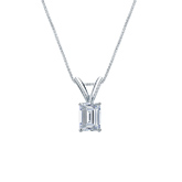 18k White Gold 4-Prong Basket Certified Emerald-Cut Diamond Solitaire Pendant 0.38 ct. tw. (I-J, I1-I2)