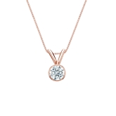 14k Rose Gold Bezel Certified Hearts & Arrows Diamond Solitaire Pendant 0.20 ct. tw. (H-I, I1-I2)