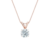 14k Rose Gold 4-Prong Basket Certified Hearts & Arrows Diamond Solitaire Pendant 0.50 ct. tw. (H-I, I1-I2)