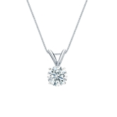 18k White Gold 4-Prong Basket Certified Hearts & Arrows Diamond Solitaire Pendant 0.50 ct. tw. (G-H, SI1-SI2)