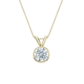 18k Yellow  Gold Bezel Certified Hearts & Arrows Diamond Solitaire Pendant 0.50 ct. tw. (F-G, VS1-VS2)