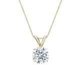 18k Yellow  Gold 4-Prong Basket Certified Hearts & Arrows Diamond Solitaire Pendant 0.75 ct. tw. (H-I, I1-I2)