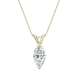 14k Yellow Gold V-End Prong Certified Marquise-Cut Diamond Solitaire Pendant 1.00 ct. tw. (I-J, I1)