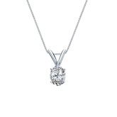 14k White Gold 4-Prong Basket Certified Oval-Cut Diamond Solitaire Pendant 0.31 ct. tw. (I-J, I1-I2)
