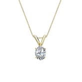 14k Yellow Gold 4-Prong Basket Certified Oval-Cut Diamond Solitaire Pendant 0.31 ct. tw. (I-J, I1-I2)