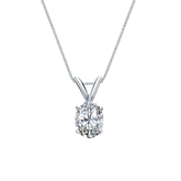 14k White Gold 4-Prong Basket Certified Oval-Cut Diamond Solitaire Pendant 0.50 ct. tw. (G-H, SI1)