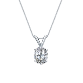14k White Gold 4-Prong Basket Certified Oval-Cut Diamond Solitaire Pendant 0.75 ct. tw. (I-J, I1)