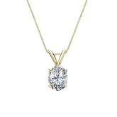 14k Yellow Gold 4-Prong Basket Certified Oval-Cut Diamond Solitaire Pendant 0.75 ct. tw. (I-J, I1-I2)