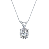 14k White Gold 4-Prong Basket Certified Oval-Cut Diamond Solitaire Pendant 1.00 ct. tw. (G-H, VS2)