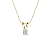 18k Yellow Gold 4-Prong Basket Certified Princess-Cut Diamond Solitaire Pendant 0.13 ct. tw. (I-J, I1)