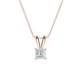14k Rose Gold 4-Prong Basket Certified Princess-Cut Diamond Solitaire Pendant 0.25 ct. tw. (I-J, I1-I2)