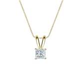 14k Yellow Gold 4-Prong Basket Certified Princess-Cut Diamond Solitaire Pendant 0.25 ct. tw. (G-H, VS2)