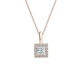 14k Rose Gold Certified Princess-Cut Diamond Halo Pendant 0.25 ct. tw. (I-J, I1)