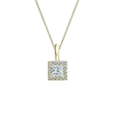 14k Yellow Gold Certified Princess-Cut Diamond Halo Pendant 0.25 ct. tw. (G-H, VS1-VS2)